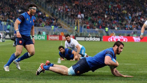 RBS 6 Nations Championship, Stadio Olimpico, Rome, Italy 15/3/2015 Italy vs France France's Yoann Maestri scores the first try of the game  Mandatory Credit ©INPHO/Ryan Byrne