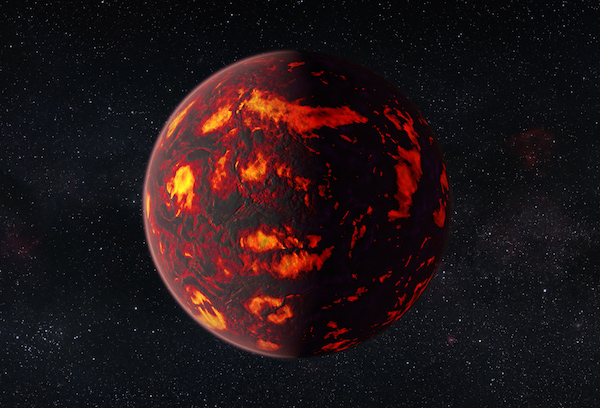 This artist's impression shows the exoplanet 55 Cancri e as close-up. Due to its proximity to its parent star, the temperatures on the surface of the planet are thought to reach about 2000 degrees Celsius. Scientists were able to analyze the atmosphere of 55 Cancri e. It was the first time this was possible for a super-Earth exoplanet.