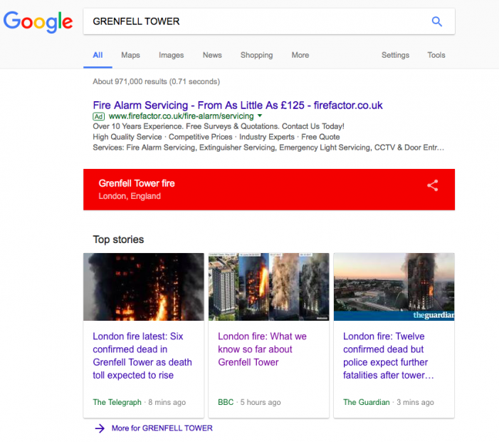 Google shows fire alarms advertising when searching for Grenfell Tower